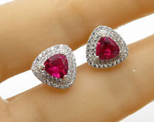 1.75ct Ruby Trillion Double Halo Stud Earring In 14k White Gold Plated Silver