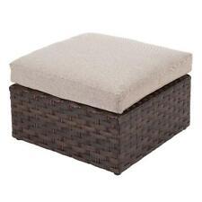 2-Piece Ottoman Set W/ Beige Cushions Outdoor Patio Garden Storage Furniture