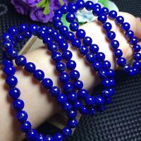6.5mm 108Pcs AAA Natural Royal Blue Lapis Lazuli Gemstone Carved Beads Bracelet