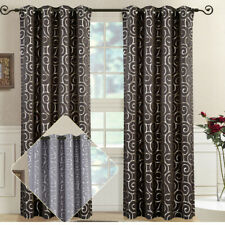 2PC Tuscany Contemporary Abstract Jacquard Curtain Set Grommet Top Window Panels