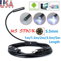 5M//2M Android Endoscope USB Waterproof Borescope Inspection camera 7mm 6 K8