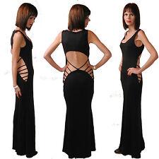 NUOVO sexy elegante vestito maxi da party abito sera tagli nero festa 34 36 38