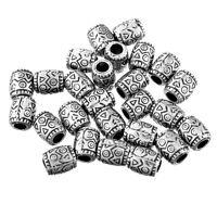 250 Antik Silber Charm Acrylperlen Zylinder Beads Kunststoffperlen Spacer 9x8mm