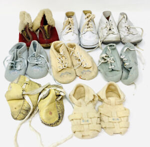LARGE LOT OF ANTIQUE BABY SHOES, SANDALS & BOOTIES GOOD FOR DISPLAY OR DOLLS