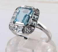 CRISP 9k 9CT WHITE GOLD BLUE TOPAZ DIAMOND ART DECO INS RING FREE RESIZE