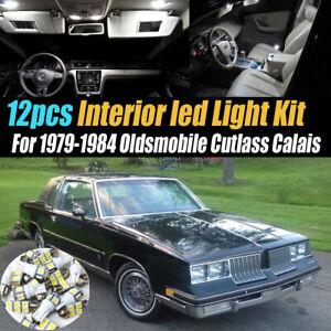 12Pc White Car Interior LED Light Bulb Kit for 1979-84 Oldsmobile Cutlass Calais