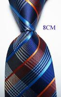 New Classic Checks Blue White Orange JACQUARD WOVEN 100% Silk Men's Tie Necktie