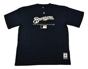 Majestic Big & Tall Mens MLB Milwaukee Brewers Shirt New 2XL, 2XT, 3XL, 3XT, 4XL