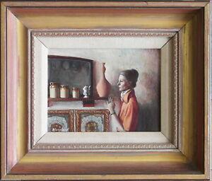 Brian Blanchard (1934-2016) Nice Original Oil Painting Woman & Kitchen Interior