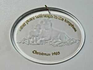 Vintage Hallmark Ornament Clear Acrylic And Peace Will Reign in the Kingdom 1985