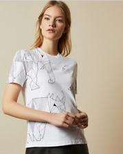 TED BAKER ALFAR White Cotton Endangered Animals T-shirt Size 0 XS (6 UK) - BNWT