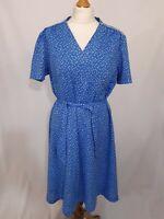 Vintage 80's Jersey Ilany Ditsy Tea Dress - Size S - Blue & White - Belted