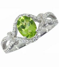 Peridot Cubic Zirconia Solitaire with Accents Fine Rings