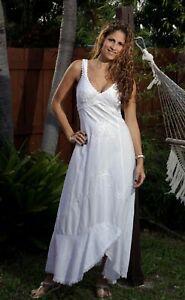 Handmade Peruvian Organic Cotton Embroidery Asymmetrical Resort Long Dress