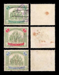 "Malaya 1904-22 Federated Malay States ""Elephants"" $1, $2 & $5, fiscally used."