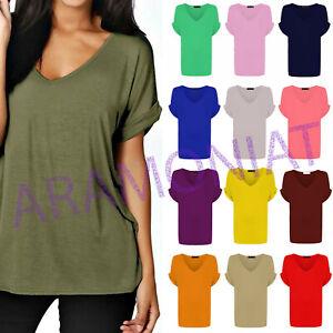 Ladies Women Baggy Oversized Loose Fit TURN UP Sleeve Ladies VNeck Top Tshirt BZ