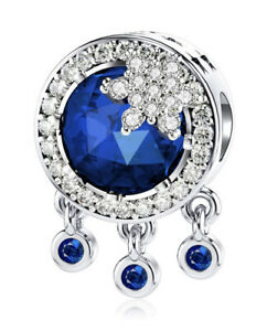 White Gold Finish Blue Sapphire Star Droplet Charm Dubai Sahara Collection