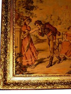 SUPERB HUGE Antique Vintage Romantic Royal Love Courting French Wall Tapestry