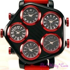BLACK & Bright Red Mens 5 zona Multi Dial World Time Hip Hop Gangster Protettore WATCH