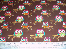 COTTON Fabric Grafiq Trafiq Hoot Owl collection on Brown BTY