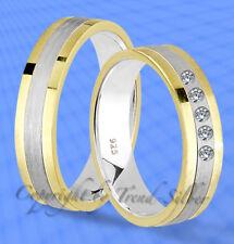 2 st Trauringe GOLD PLATIERT mit 5 Steine Gravur J129-5