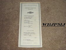 1955 Chevrolet Factory Original GM Owner Service Policy From Norwood Motor Co.