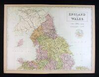 1879 Black Atlas Map - North England & Wales - Liverpool Carlisle Isle of Man