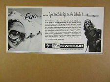 1958 Swissair switzerland swiss skiing skier photo vintage print Ad