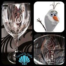 Personalised Custom Disney Olaf Frozen Wine Glass Handmade Free Name Engraving!