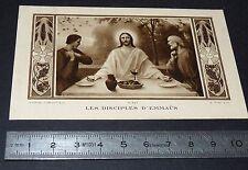 CHROMO 1938 IMAGE PIEUSE CATHOLICISME HOLY CARD JESUS DISCIPLES D'EMMAÜS