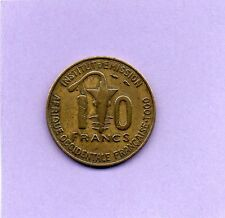 PIECE DE 10 FRANCS AFRIQUE OCCIDENTALE FRANCAISE. TOGO INSTITUT D'EMISSION 1957