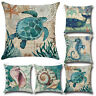 Marine Cushion Cover Sea Shell Whale Turtle Throw Pillow Case Sofa Home Decor