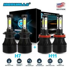 4-sides H7+H11 Combo Total 2Pairs 3400W 510000LM LED Headlight Kit High Low Beam