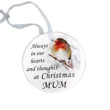 Mum Glass Robin Memorial Christmas Tree Hanger Ornament Memorial Tribute