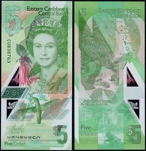 EAST CARIBBEAN STATES 5 DOLLARS (P NEW) N. D. (2021) QEII POLYMER UNC