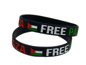 2 Pieces Unisex Free PALESTINE Save Gaza Fashion Wristband Silicone Bracelets