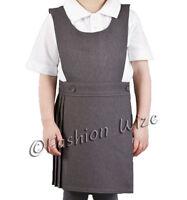 Pleated Girls School Uniform Pinafore Dress Sizes Age 2 - 20 Black Grey Navy