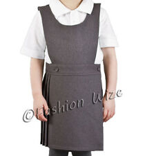 Pleated Girls School Uniform Pinafore Dress Sizes Age 2 - 20 Black Grey Navy