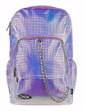 CHOK HOLO SQUARE STUDDED Pink Purple 3D Metallic BACKPACK RUCKSACK School Bag