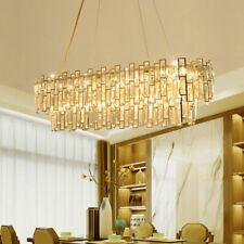 Crystal chandelier modern stainless steel dining room golden LED pendant light