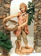 "Fontanini Depose Italy 7.5""Jesse w/Basket Of Fish Nativity Village Figure 52888"