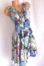 SUZI CHIN for MAGGY BOUTIQUE GREY, BLUE WRAP DRESS w/ RUFFLED NECKLINE Size 8P