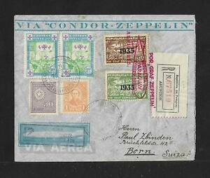 ZEPPELIN PARAGUAY TO SWITZERLAND AIR MAIL COVER 1935 $180+ OFF STAMPS