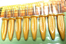 8 x STAINLESS STEEL CORN ON THE COB HOLDERS BBQ PRONGS SKEWERS FORKS PARTY UK SE