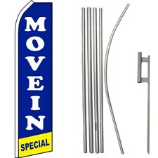 Move In Special Blue /White/Yellow Swooper Flag & 16ft Flagpole Kit/Ground Spike