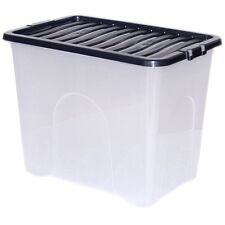 5Pcs 80 Litre LARGE Clear STORAGE BOX Clipping Lid Stackable Containers