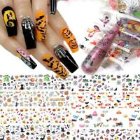 10 pcs 20X4 cm Halloween Horrow Nail Foil Transfer Decals Professional Manicure