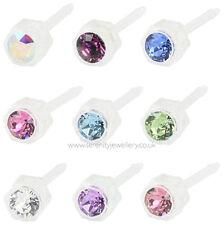 Hypoallergenic Blomdahl medical plastic crystal stud earrings nickel free