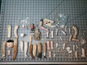 Lot of 50+ Small Doll Parts Eyes, Arms-Legs, Partial Dolls, Bisque Compo Leather