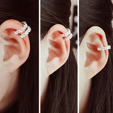 Fashion Silver Ear Cuff Wrap Rhinestone Cartilage Clip Earring Non PiercingRDUJ